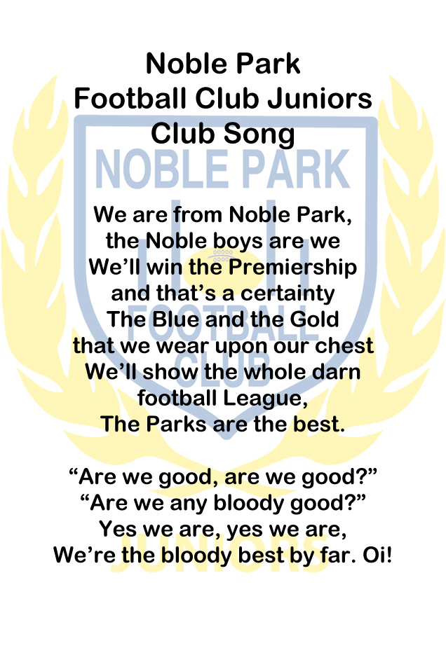 Noble Park Football Club Juniors Club Song